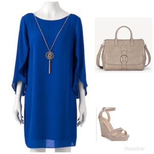 Blue Shift Dress With Flowy Sleeves
